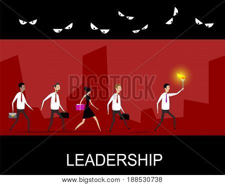 Leadership business concept with team following behind the leader through the dark dangerous tunnel. Vector leadership illustration.