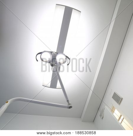 Lamp With Two Powerful Spotlights In The Room For Surgical Opera