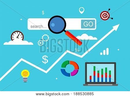 Concept of marketing research and workflow optimization, project planning, productive teamwork. Vector