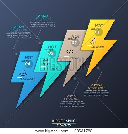 Creative infographic design layout, 4 multicolored lightnings connected with text boxes on dark background. Four new trends in software engineering and programming. Vector illustration for website.