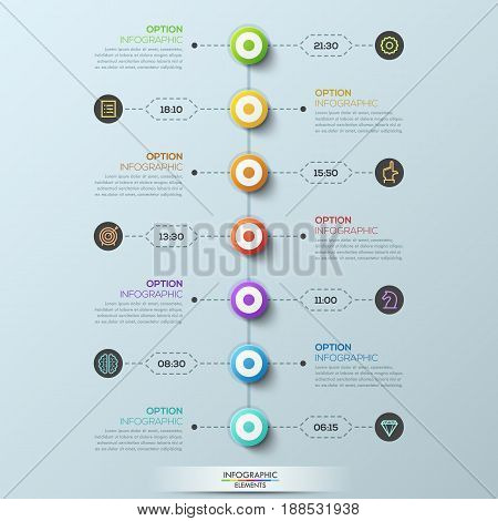 Modern infographic design template, 7 circular elements connected with text boxes by dotted lines. Week schedule and daily appointments planner concept. Vector illustration for internet blog, website.