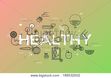 Modern thin line design concept for website banner. Vector illustration for healthy lifestyle, active living, food, environment.