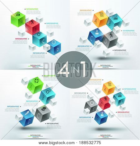 Set of 4 creative infographic design templates. Lettered cube elements, text boxes and pictograms. Representation of company services. Vector illustration for presentation, corporate website, report.