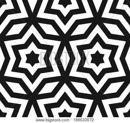 Vector seamless pattern, black & white ornament texture, linear stars angular geometric figures background. Abstract geometric monochrome seamless pattern repeat tiles. Contrast design for prints, decor, fabric.