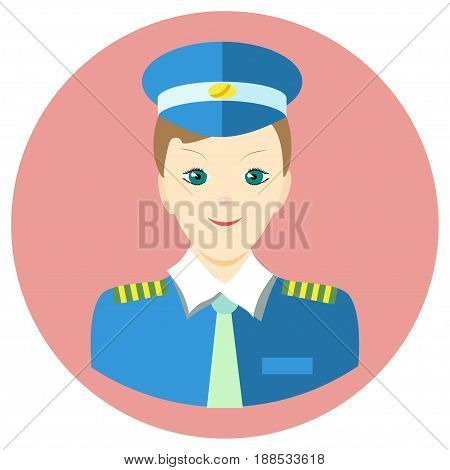 Icon man pilot in a flat style. Vector image on a round colored background. Element of design, interface. Image in the cartoon style.