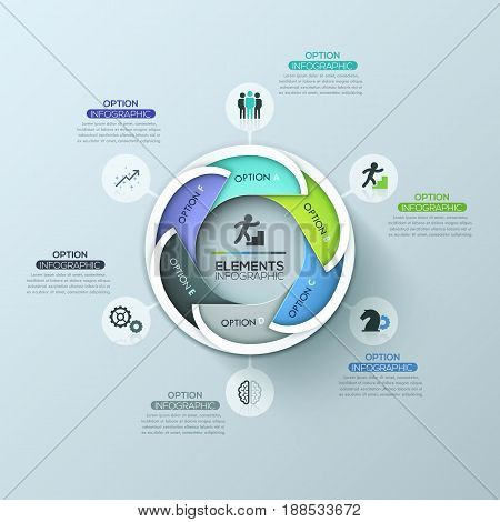 Modern circular infographic design layout with 6 lettered overlapping elements connected with text boxes. Production cycle business concept. Vector illustration for presentation, brochure, report.