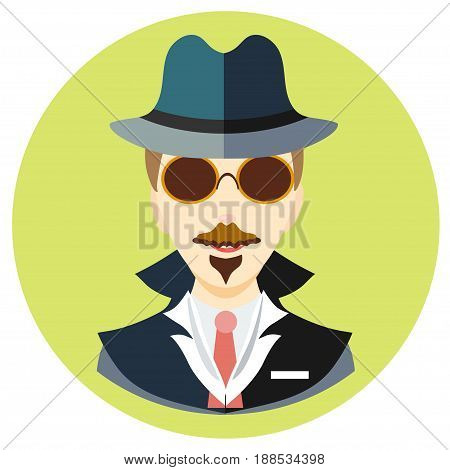 Icon man spy in a flat style. Vector image on a round colored background. Element of design, interface. Image in the cartoon style.