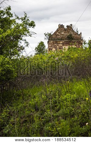 ruins of old house near the Chervonohorod Castle Ternopil region of western Ukraine