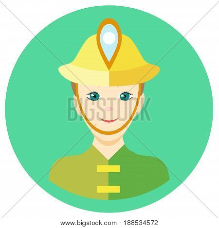 Icon man firefighter in a flat style. Vector image on a round colored background. Element of design, interface. Image in the cartoon style.