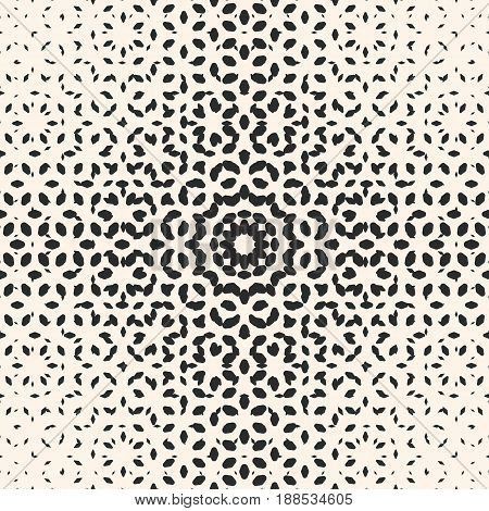 Vector halftone pattern, monochrome texture pattern, small rounded shapes pattern, visual effect  pattern, gradient transition pattern. Abstract pattern, ornamental pattern, background pattern. Modern seamless pattern, design for prints pattern, covers pa