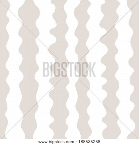 Vector seamless pattern, hand drawn vertical wavy lines seamless texture. Simple striped background in pastel colors beige and white. Design element for prints, decoration, textile, furniture, covers, linens, bedding.