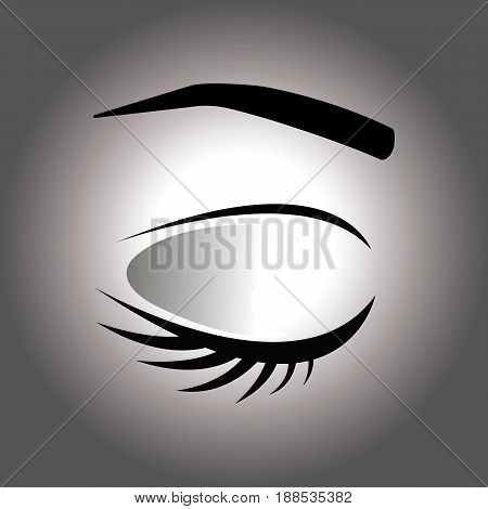 Closed eye with eyelash and eyebrow on a gray background