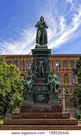 German poet Friedrich Schiller monument on the Schillerplatz square in Vienna, Austria