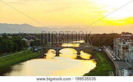 Ponte Santa Trinita At Sunset In Florence.