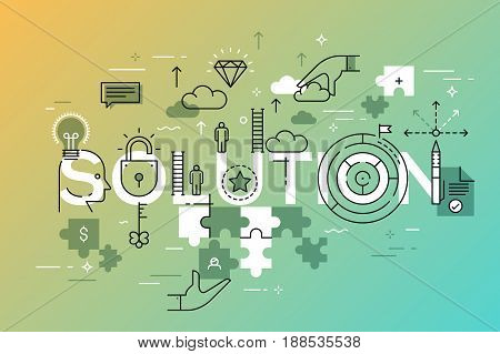 Thin line flat design banner of business solutions. Modern vector illustration concept of word solution for website and mobile website banners, easy to edit, customize and resize.