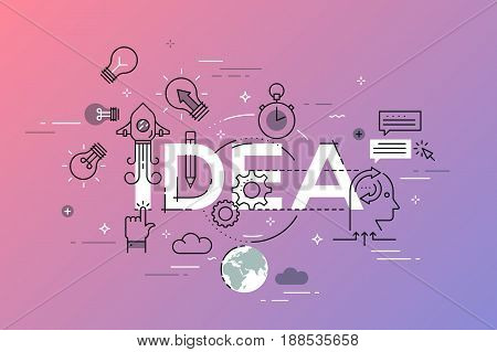 Thin line flat design banner of creative ideas, great business ideas and opportunities. Vector illustration concept of word idea for web and mobile website banners, easy to edit, customize and resize