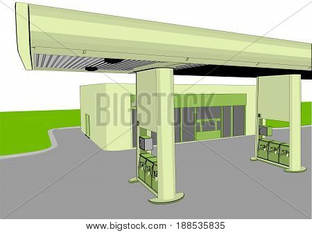 gas station isolated on a white background