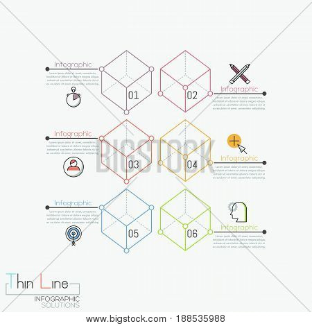 Creative infographic design template, 6 numbered transparent cubes connected with text boxes. Features of business project. Vector illustration in thin line style for report, website, presentation.