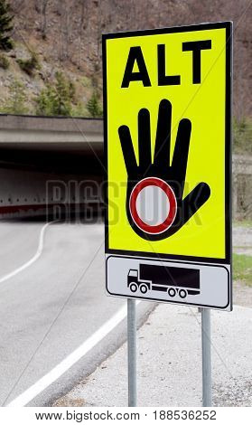 Traffic Sign With Hand And The Ban Symbol For The Block Road For