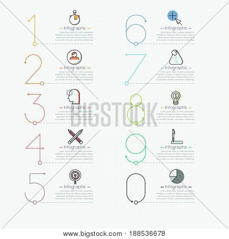 Infographic design template in thin line style. Multicolored figures, pictograms and text boxes. List of business project features concept. Vector illustration for report, website menu, presentation.
