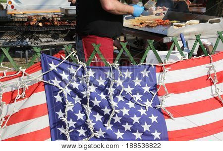 American Flag In The Street Food Stall While The Cook