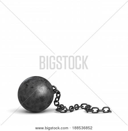 3d rendering of a large black iron ball lying down with a piece of its broken chain. Loss of restrictions. No limits ahead. Free person.