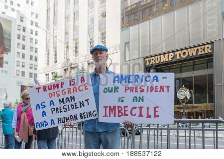 A Protester Against President Donald Trump