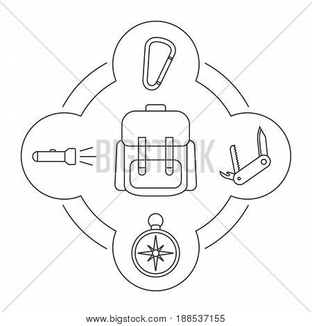 Tourist's backpack contents linear icons set. Compass, flashlight, carabiner, penknife. Isolated vector illustrations