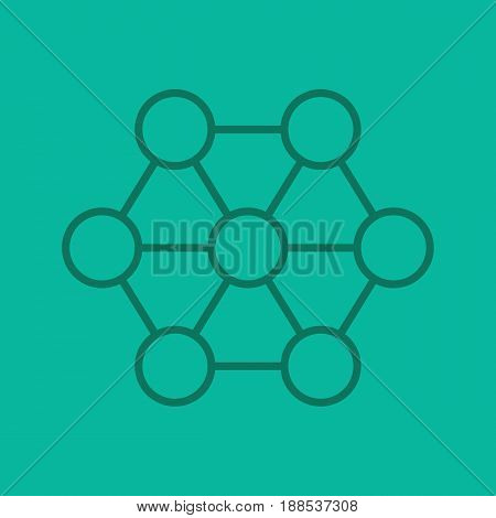Connections color linear icon. Interrelation abstract metaphor. Structure. Thin line contour symbols on color background. Vector illustration