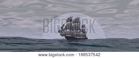Old merchant ship in front of the moon on the ocean by cloudy day - 3D render