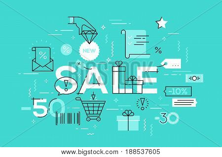 Modern vector illustration concepts of word sale. Thin line flat design banner for website mobile apps, easy to use and highly customizable.