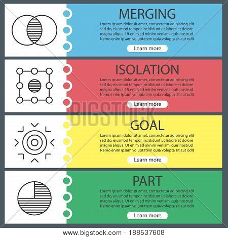 Abstract symbols web banner templates set. Merging, isolation, goal, part concepts. Website color menu items with linear icons. Vector headers design concepts