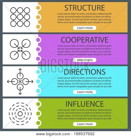 Abstract symbols banner templates set. Structure, cooperative, directions, influence. Website menu items with linear icons. Color web banner. Vector headers design concepts
