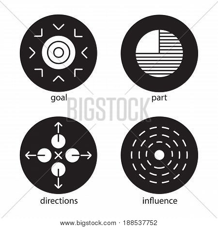 Abstract symbols icons set. Goal, part, directions, influence concepts. Vector white silhouettes illustrations in black circles