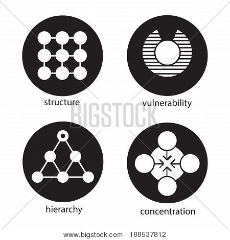 Abstract symbols icons set. Structure, vulnerability, hierarchy, concentration concepts. Vector white silhouettes illustrations in black circles