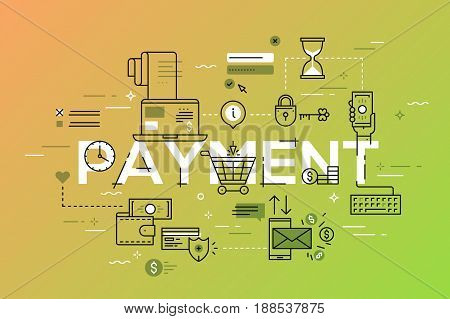 Modern thin line design template for payment website banner. Vector illustration concept for shopping, payment method, e-banking.