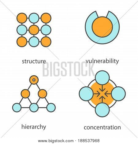 Abstract symbols color icons set. Structure, vulnerability, hierarchy, concentration concepts. Isolated vector illustrations