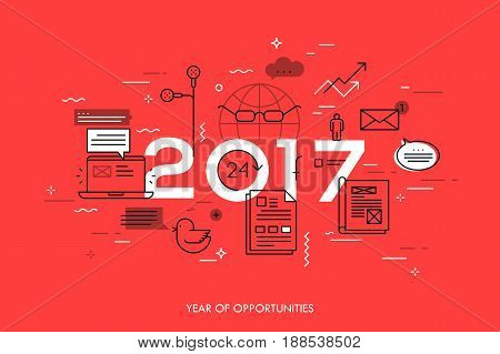 Infographic concept, 2017 - year of opportunities. Hot trends and predictions in global communication, social media, internet blogs, online instant messengers. Vector illustration in thin line style.