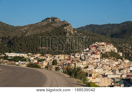 Panorama View From Road Over The Holy City Of Moulay Idriss Zerhoun Including The Tomb And Zawiya Of