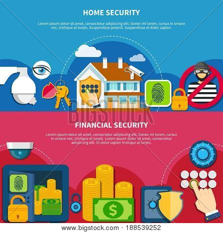 Security and protection horizontal banners set with home and financial security symbols flat isolated vector illustration