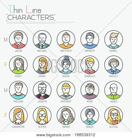 Big collection of male and female characters with different hairstyles, clothing and accessorizes. Modern user icons design. Vector illustration in thin line style for website, mobile application.