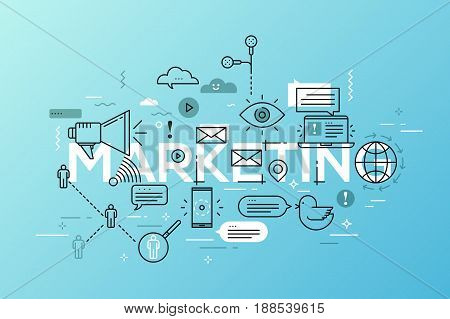 Vector creative illustration of marketing word lettering typography with line icons on white background. Promotion technology concept. Thin line art style design for advertising