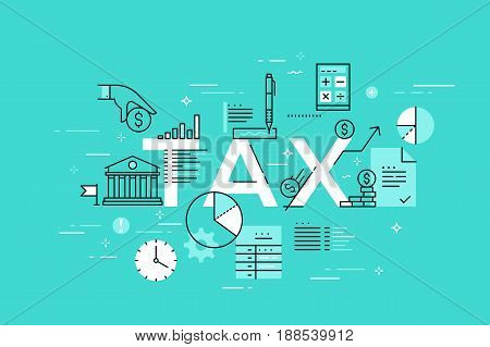 Thin line flat design template for web page, law, banking, taxes information and news, services. Modern vector illustration concept of word tax for website and mobile applications banners.