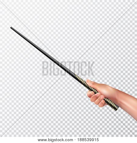 Male hand holding long black magic wand with pattern on transparent background realistic vector illustration