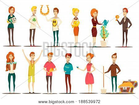 Lucky situations flat set of doodle style flat images of isolated human characters with various items vector illustration