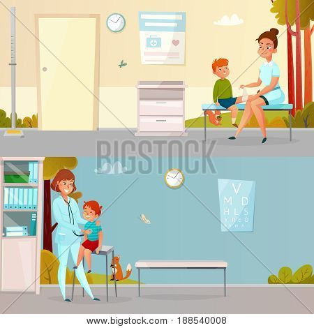 Kid visits doctor horizontal cartoon banners including boy with injured leg hearings of breathing vector illustration
