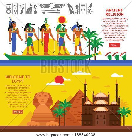Egypt horizontal banners with egyptian landmarks decorative icons and sings of characters of ancient myths flat vector illustration