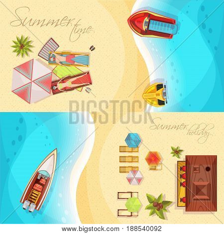 Beach holiday horizontal banners top view including coast, sea, boats, bar, sunbathers on loungers vector illustration