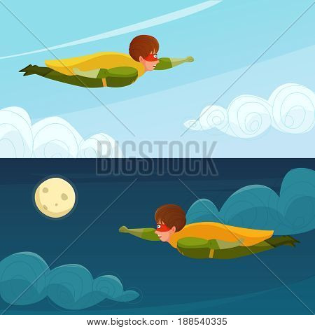 Horizontal banners with boy superhero flying on background of day and night sky vector illustration