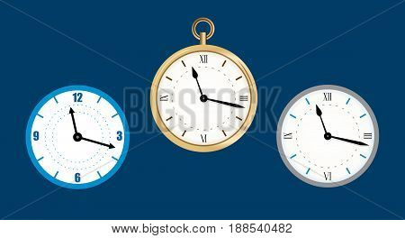 collection icon of clock. Wall clock vector illustration, Flat. Set clock on dark background.